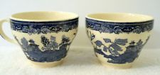 Vntg Alfred Meakin Set of 2 Coffee Tea Cups Fair Winds Blue China Gardens Doves