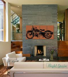"Large Vintage Motorcycle - Custom Harley Painting - 24""x48"" Garage Art for him on Etsy, $185.00"