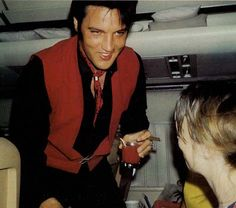 Elvis on a commercial flight between LA and Hawaii.