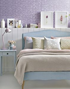 Country Pastel Bedroom with Cowslip Patterned Walls