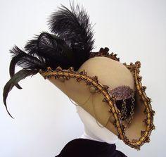 De Reggio - Beige & gold steampunk pirate  tricorn with brass trims