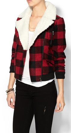 Loving this cute plaid shearling jacket - on sale for $65! http://rstyle.me/~37oev