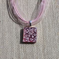 Pink Ribbon Necklace Breast Cancer Awareness by StampHappyScrapper, $9.50