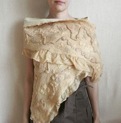 Nuno felted women silk and wool scarf Creamy, naturally dyed | Flickr - Photo Sharing!