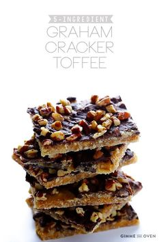 This graham cracker toffee is one of my FAVORITE desserts to bring to get-togethers...if I don't eat the whole batch myself. Only 5 ingredients - totally easy!