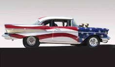 Patriotic 57' Chevy. I always loved the '57 Chevies! This one takes the cake…