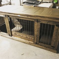 Rustic & classic piece to replace your dogs' wire crate.  Perfect as an entry table or entertainment stand!  Large Single Double Dog kennel.  Indoor Double kennels come standard with center door that allows the space to be divided into two spaces  or latched back to completely keep kennel opened.  Can be ordered in custom distressed paint of your color choice. comes standard with stain and polyurethane.  It is furniture for your dog.