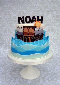 Noah's ark birthday cake. All fondant.