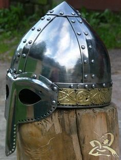 Combat  Medieval helmet norman and  brass stamping  sca by ARMORS, $499.00