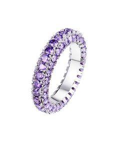 Look at this #zulilyfind! Purple Cubic Zirconia & White Gold Brilliant-Cut Eternity Band #zulilyfinds  $12.99