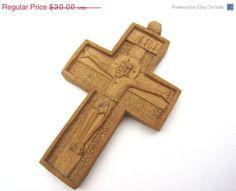 Vintage Carved Wood Crucifix