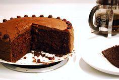 #GlutenFree Chocolate cake with raspberries and dark chocolate frosting