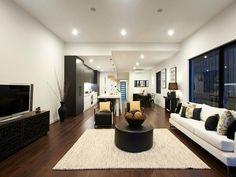 split level bulk head, integrated fridge, flooring, textured pendant lighting