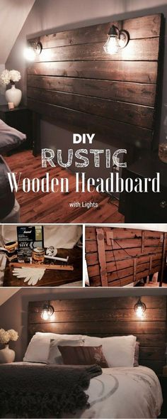 105 Easy DIY Headboards You Can Build on a Budget Great idea! Wooden Headboard with Lights<br> These DIY headboard ideas with plans are simple enough that you can make them over a weekend. Check out our epic list of 105 different styles and types. Diy Headboard With Lights, Rustic Wooden Headboard, Wood Headboard, Headboard Shelves, Industrial Headboards, Custom Headboard, Queen Headboard, Industrial Bedroom, Diy Home Decor Rustic