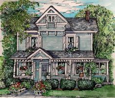 House Portrait-Custom Original pen with watercolor painting of your home by Patty Fleckenstein. $75.00, via Etsy.