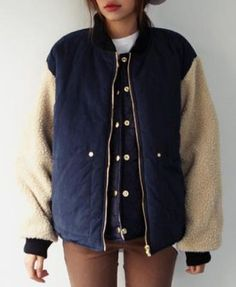 Lambswool Splicing Sleeves Cotton-padded Jacket