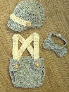 Newborn Crochet KnitDiaper Cover Set Newsboy Hat. Suspenders. Baby Shower  Gift. Baby Boy Photo Prop.Newborn Hat. Coming Home Set 0f796679626