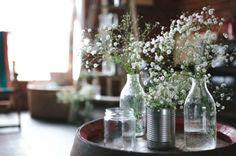 Simple elegant gypsy flowers in jars