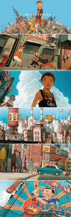 "By KIMURA Shinji. 木村真二 Background art from ""TekkonKinkreet"" 鉄コン筋クリート(2006 Japanese anime film) #animation #comics #manga #BD - felix ip。蟻速畫行"