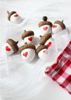 Heart Acorns - With real acorn caps (Set of 8)