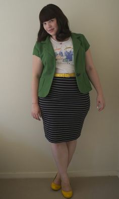 Cute plus size styling: green jacket over striped pencil skirt with pops of yellow