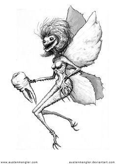 DeviantArt: More Like The Vulture by AustenMengler Fairy Drawings, Dark Art Drawings, Drawing Sketches, Fairy Sketch, Teeth Drawing, Arte Grunge, Monster Drawing, Trash Art, Scary Art