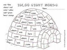 Sight word igloo