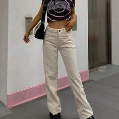 Corduroy Pants, Khaki Pants, School Outfits, Nude, Jeans, Fitness, Polyester Spandex, High Waist, Clothes