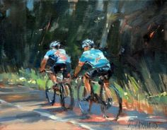 Two For The Road , cyclist figure and landscape oil painting, painting by artist Mary Maxam