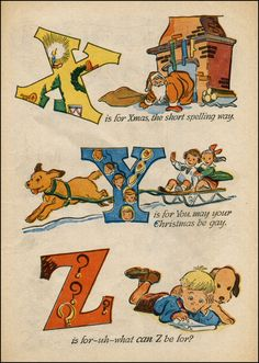 Walt Kelly Christmas Alphabet X-Z