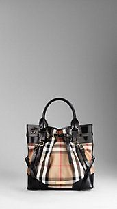Burberry Medium Bridle House Check Tote Bag. With the black detail or...