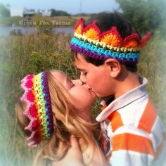 CUSTOM Rainbow Crochet Crown Boutique Color Block Crown Rainbow Princess Crown Made to Order