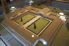 Fishbourne Roman Palace, villa and garden model.  The Fishbourne Palace is the biggest single Roman building ever found in Britain, covering an area the size of Buckingham Palace in London.