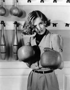 Barbara Stanwick in boxing gloves, publicity still from 'Breakfast For Two', circa 1937