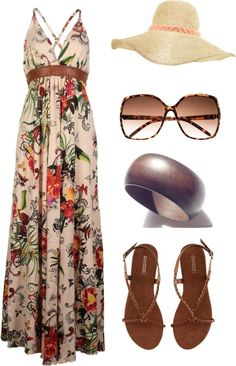 #summer #outfits / Long Beach Dress + Hat