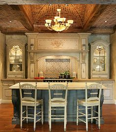 Adding Red Brick Via The Ceiling In This Kitchen With Island Quite Show