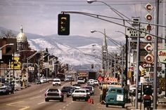 Looking westward on Colfax Avenue. Denver, Colorado, 1972. What a neat flashback photo. It's so different now! I don't think you can see the mountains quite that well from that spot.