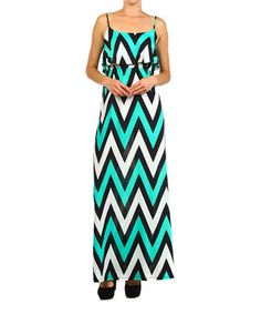 Mint & White Chevron Maxi Dress by Pretty Young Thing #zulily #zulilyfinds