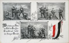 The idea that this war is going to be quick and glorious for German soldiers begins to fade. The men are finally starting to see that this war is going to last. That's the reason the soldiers are praying together: God is the only one who can judge them and change the tide. #WWI #WorldWarOne #FirstWorldWar #WarPhotos #posters #HistoryPics #HistoryPhotos