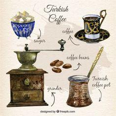 Hand painted turkish coffee Free Vector
