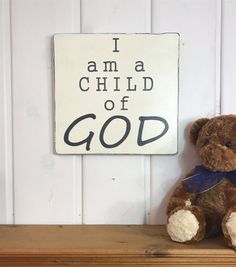 I am a child of God, nursery decor, sign for childrens room, bedroom wall decor {DESCRIPTION} >This sign is approximately 12x 11.25. If you would like this is another size or color, please send us a message we will try see how we can accommodate for these changes. >This sign comes in ivory with charcoal letters and a clear wax finish for shine and protection. >This sign is painted on pine wood. Each board has knots, imperfections, and different wood grain. No two signs will be the same, a...