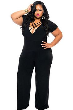 d5a9ded8b21 New Sexy Elegant Black Plus Size Jumpsuit String Deep V Neck Dress Club  64044