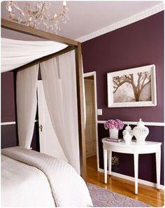Purple Bedroom Walls: Gorgeous Ideas For Purple Rooms -- One Kings Lane Dream Bedroom, Home Bedroom, Bedroom Wall, Master Bedroom, Bedroom Decor, Bedroom Ideas, Plum Bedroom, Bedroom Curtains, Bedroom Pictures