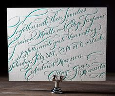 Timeless calligraphy elegance gets a modern facelift with New Calligraphy, letterpress wedding invitations hand penned by Debi Zeinert.