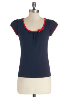The Cutest Cruise Top in Navy - Cotton, Knit, Mid-length, Blue, Solid, Bows, Casual, Nautical, Spring, Better, Variation, Blue, Short Sleeve, Red, Cap Sleeves, Top Rated