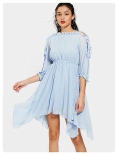5b6197464ea6 Lace Up Ruffled Flowy Chiffon Dress (Light blue) Casual Dresses For Women,  Blue
