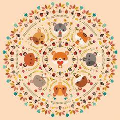 Om Nom Nom Hamster Mandala Art Print