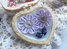 Flower Earrings/Kanzashi earrings/Kanzashi от AirinFlowers на Etsy