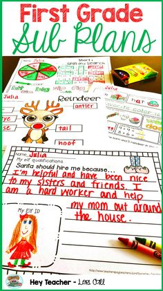 First Grade Substitute Emergency Lesson Plans... the perfect gift to give yourself! There are plenty of meaningful and engaging holiday/Christmas activities for the month of December! Kid tested, Santa approved! #firstgrade #christmas #holidaygames