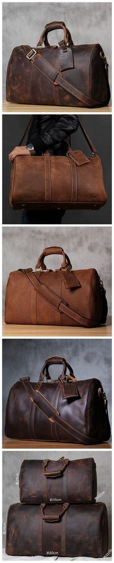 Crazy Horse Leather Large Travel Bag, Duffle Bag